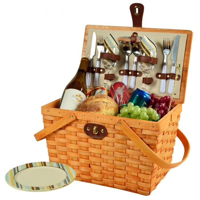 Picnic at Ascot Frisco Traditional American Style Picnic Basket with Service for 2 - Santa Cruz