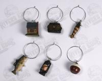 Rivers Edge Products Fishing Cabin Wine Charm Set, 6 pcs