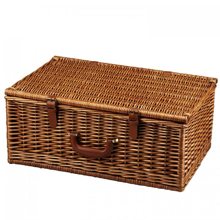 Picnic at Ascot Dorset English-Style Willow Picnic Basket with Service for 4 and Coffee Set - Santa Cruz