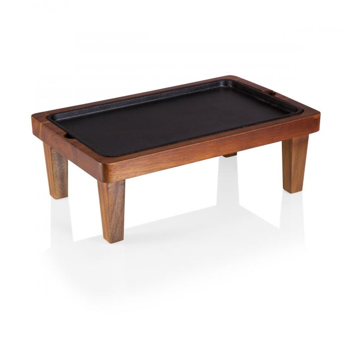 """Picnic Time Raccolta Large Serving Pedestal with Inlaid Iron Griddle - (17"""") (Acacia)"""