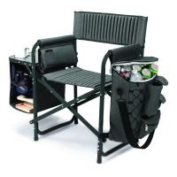 Picnic Time Fusion Chair, Dark Gray with Black