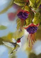 Toland Hummingbirds and Fuschias House Flag