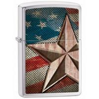 Zippo Brushed Chrome, Silver w/American Flag, Retro Star
