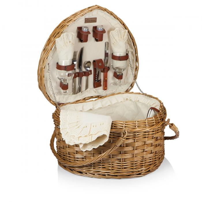 Picnic Time Woven Heart Picnic Basket for 2