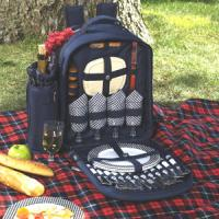 Picnic at Ascot - Deluxe Equipped 4 Person Picnic Backpack with Cooler & Insulated Wine Holder - Navy