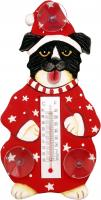 Songbird Essentials Holiday Dog in Pajamas Small Window Thermometer