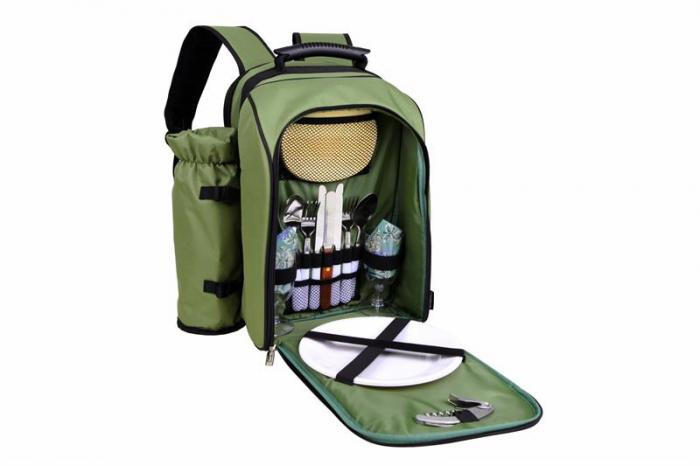 Primeware Alpine - Two Person Picnic Pack w/ Wine Totes Olive w/Grapes Napkins (1030-OL)