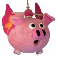DZI Handmade Designs Flying Pig Felt Birdhouse