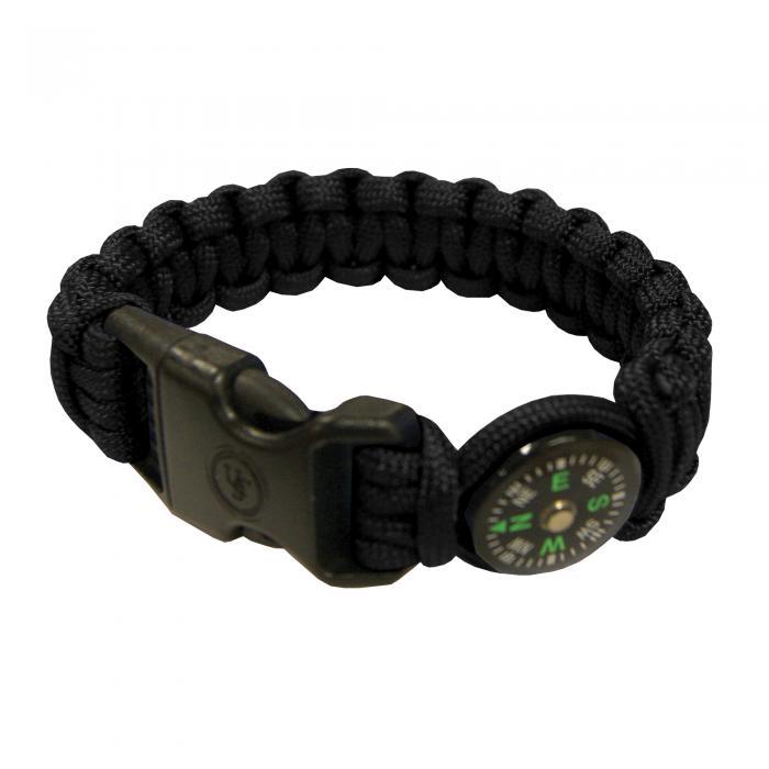 """Survival Bracelet 8"""" Compass, Black"""