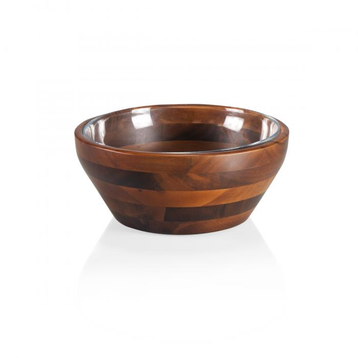 Picnic Time Carovana Medium Nested Bowl Set - One Wood and One Glass Bowl, 1-1/2 Qt. (Acacia)