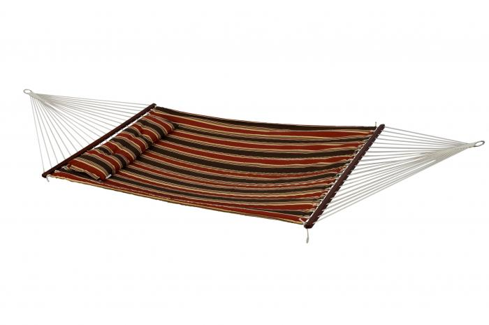 Bliss Hammocks European Quilted Hammock w/ Button Tuft Pillow - Brown Stripe