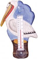 Songbird Essentials White Pelican on Pier Large Window Thermometer