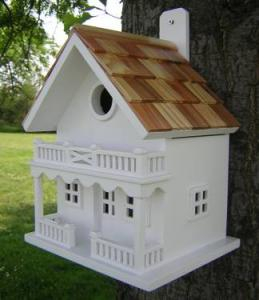 Home Bazaar 2 Story Shingled Roof Chalet Birdhouse