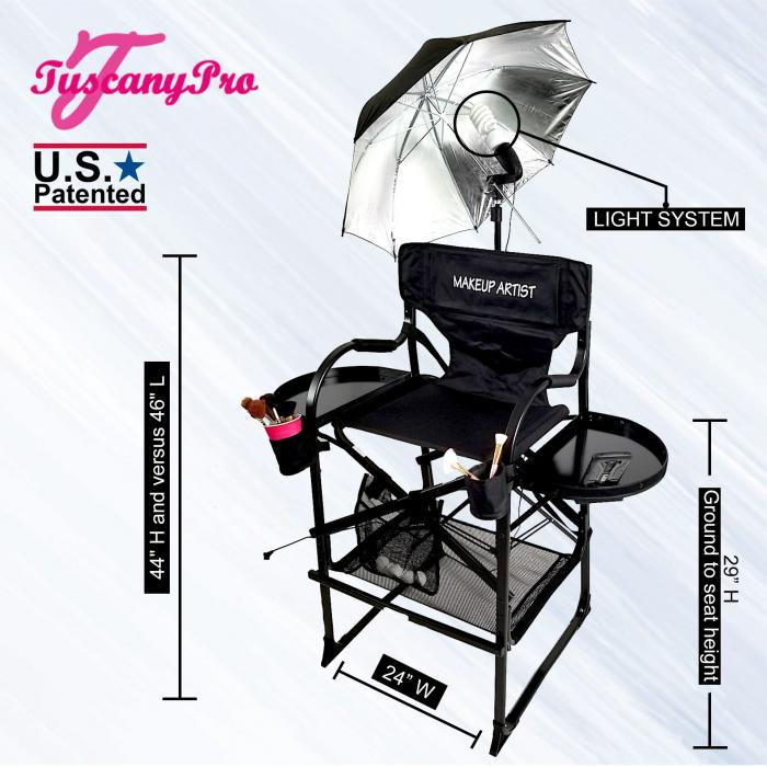 "Tuscany Pro Tall Makeup Artist Portable Chair with Light System - 29"" Seat Height"