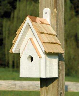 Heartwood Classic Birdhouse, Whitewashed