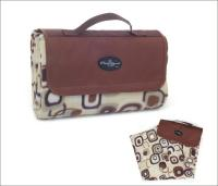 "Picnic & Beyond Brown Colorful  Fleece Picnic Blanket, 59"" x 53"""