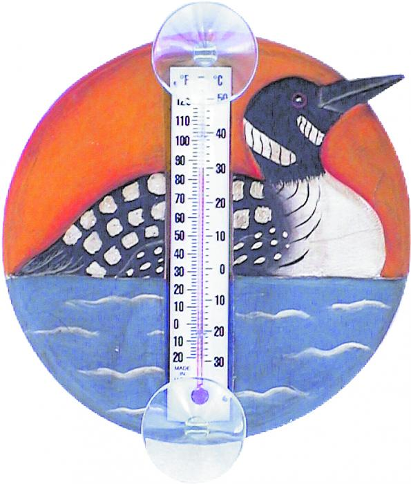 Songbird Essentials Loon in Lake Scene Small Window Thermometer