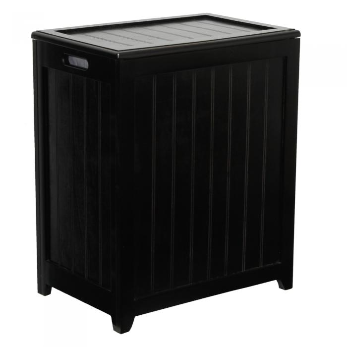 Ocean Star Design Mahogany Finished Rectangular Laundry Wood Hamper with Interior Bag RHP0109MH