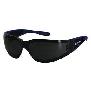 Bobster Action Eyewear Shield II Sunglass, Blue Frame, Smoked Grey Lens