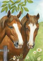 Toland Twin Horses Garden Flag