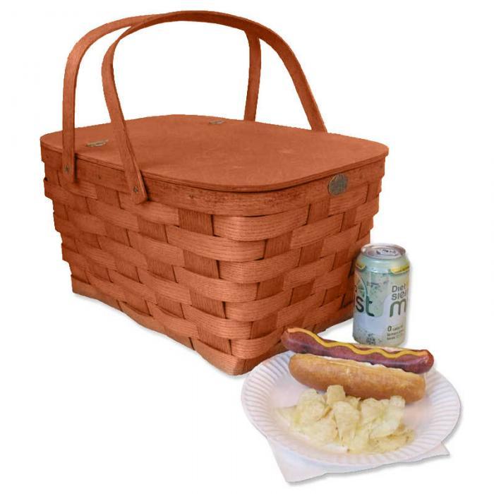 Peterboro Basket Co. Honey Color Empty Family Picnic Basket For 4