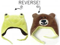 Luvali Convertibles Frog/Bear Reversible Kid's Winter Hat, Small