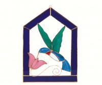 Gift Essentials Small Hummingbird Purple Steeple Frame Window Panel