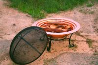 "Unique Arts 30"" HANDSPUN SOLID COPPER FIREPIT SET WITH DOME SCREEN"
