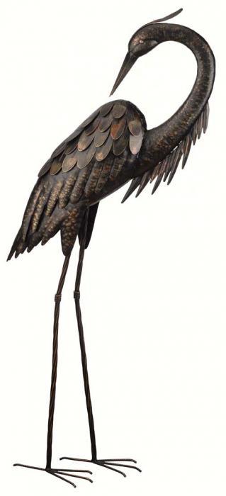 Regal Art & Gift Bronze Heron 43 inch, Preening