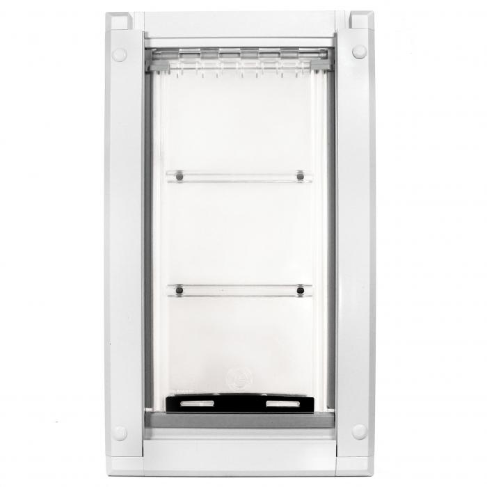 "Endura Flap Pet Door, Door Mount, Medium Single flap - 8""w x 15""h, White frame"