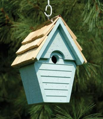 Heartwood Wren-In-The-Wind Birdhouse, Blue Eggshell