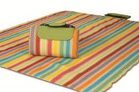 "Mega Mat Folded Picnic Blanket with Shoulder Strap - 68"" x 82"" (Salsa Stripe)"