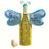 Evergreen Enterprises Polka Dot Dragonfly Metal Wine Bottle & Cork Holder