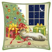 Alice's Cottage Holiday Cat Decor Pillow