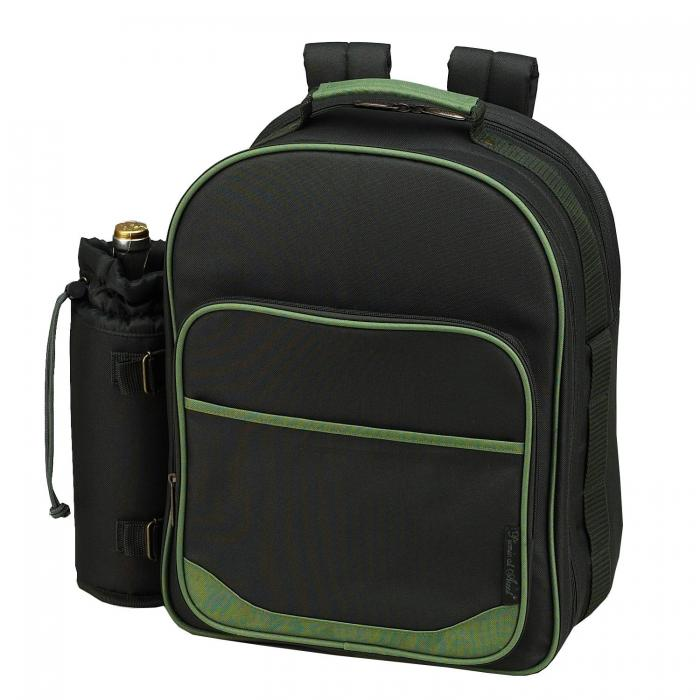 Picnic at Ascot Deluxe Equipped 2 Person Eco Picnic Backpack with Cooler & Insulated Wine Holder - Forest Green