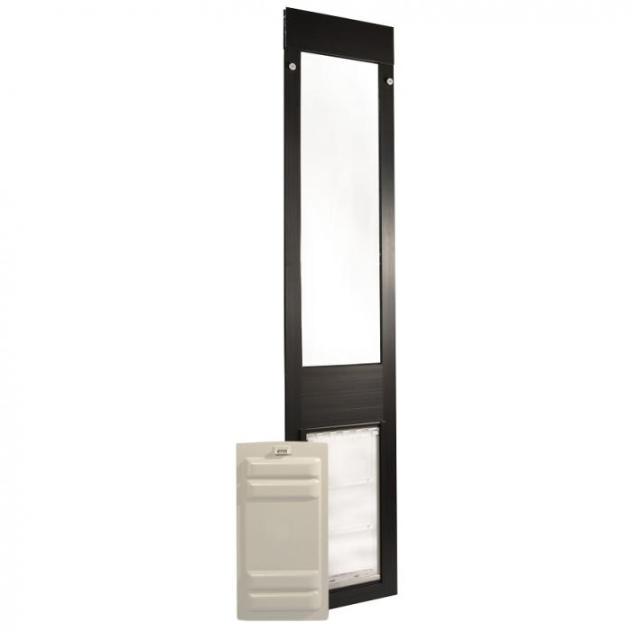 "Endura Flap Pet Door, Thermo Panel 3e, Small Flap, 6""w x 11""h - 93.25-96.25"" Tall, Bronze frame"