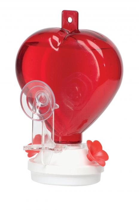 Artline 12 Ounce Heart Hummingbird Window Bird Feeder