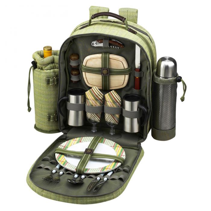 Picnic at Ascot Deluxe Equipped 2 Person Eco Picnic Backpack w/Coffee Service, Cooler & Wine Holder - Olive Tweed