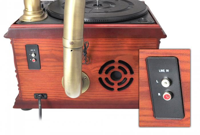 Pyle Retro Vintage Classic Style Turntable Phonograph Record Player with Horn and USB/MP3 Recording (PTCDCS3UIP)