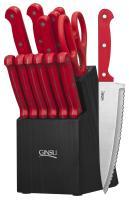 Ginsu Essential Series 14-Piece Cutlery Set w/Black Block and Red Handles