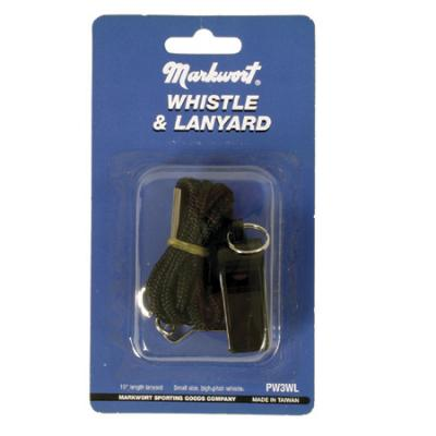 Markwort Whistle with Lanyard, Black (Single Whistle)