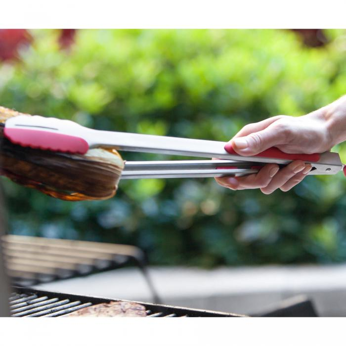 """Ergo Chef Pro-Series 15"""" DUO Silicone Kitchen & Grill Tongs - Red"""
