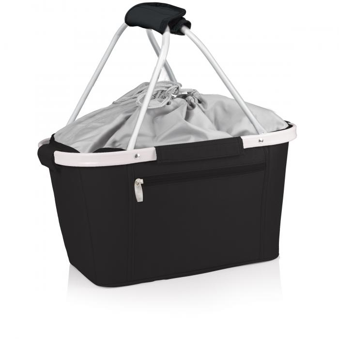 Picnic Time Metro Waterproof Polyester Canvas Empty Picnic Basket, Black