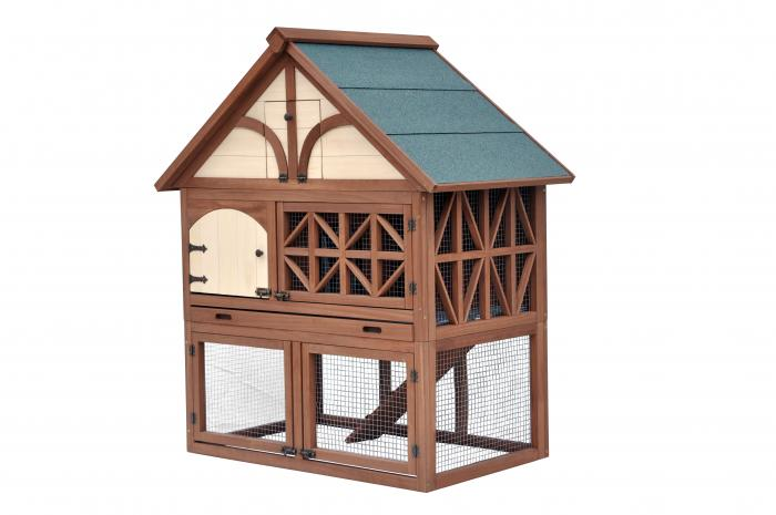 Merry Products Tudor Rabbit Hutch - Fir Wood with Oil‐Based Stain