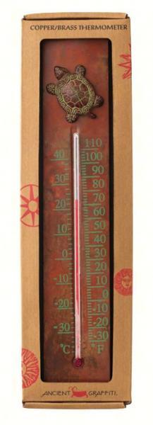 Ancient Graffiti Turtle Thermometer Copper Cast Brass