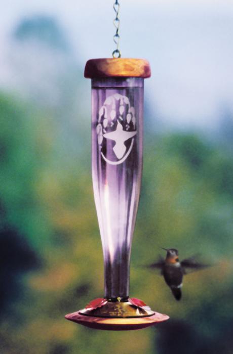Schrodt Amethyst Etched Lantern Hummingbird Bird Feeder