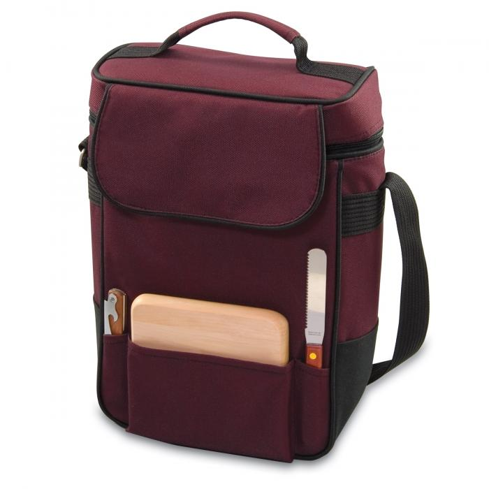 Picnic Time Duet 2 Bottle Wine & Cheese Tote w/ Accessories, Burgundy
