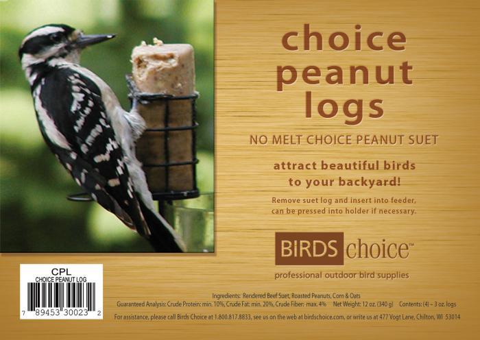 Birds Choice Choice Peanut Suet Logs (Case of 12)
