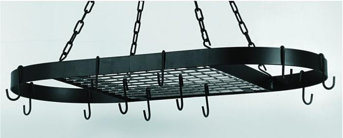 """Old Dutch 32 1/2"""" x 17 Oval Matte Black Hanging Pot Rack with 12 Hooks/Chains"""