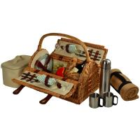 Picnic at Ascot Sussex Willow Picnic Basket with Service for 2, Coffee Set and Blanket - Gazebo